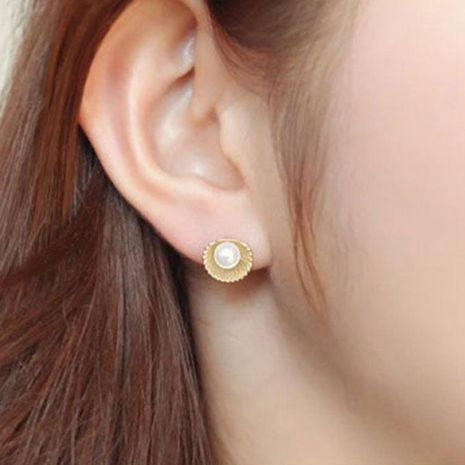 Korean Scallop Shell Pearl Earrings  Flower Stud Earrings NHCU194826's discount tags