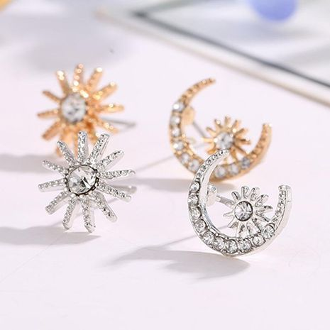 Korean version of Xingyue earrings shiny stars moon diamond asymmetric earrings diamond earrings NHCU194832's discount tags