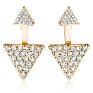 Fashion full diamond geometric triangle earrings women's ear jewelry wholesale NHCU194834's discount tags