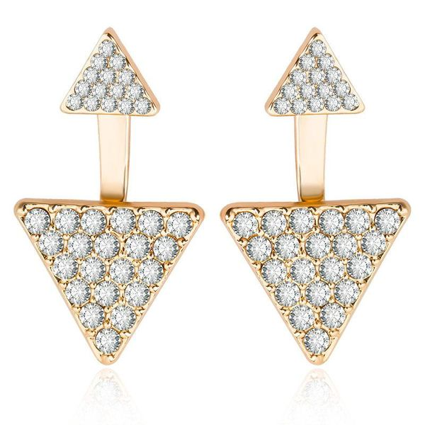 Fashion full diamond geometric triangle earrings women's ear jewelry wholesale NHCU194834
