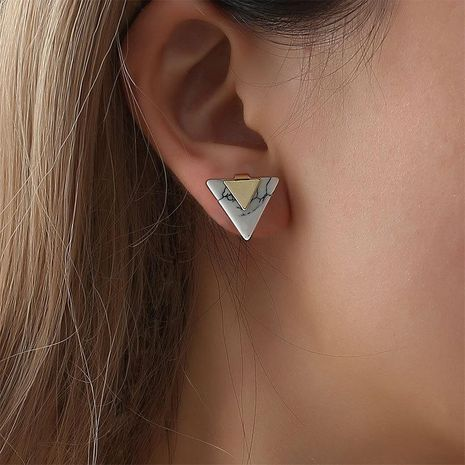 Simple Geometric Triangle Turquoise Ear Studs Triangle Marble Pattern Stud Earrings NHCU194836's discount tags