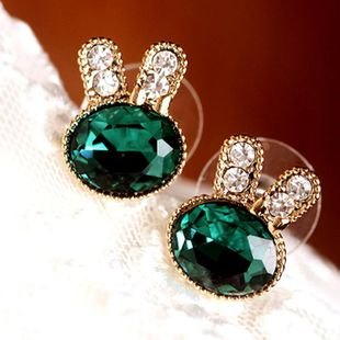 Student earrings inlaid with emerald flash diamonds delicate animal rabbit earrings NHCU194855's discount tags