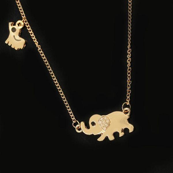 Elephant elephant elephant pendant necklace with crystal inlay NHCU194857