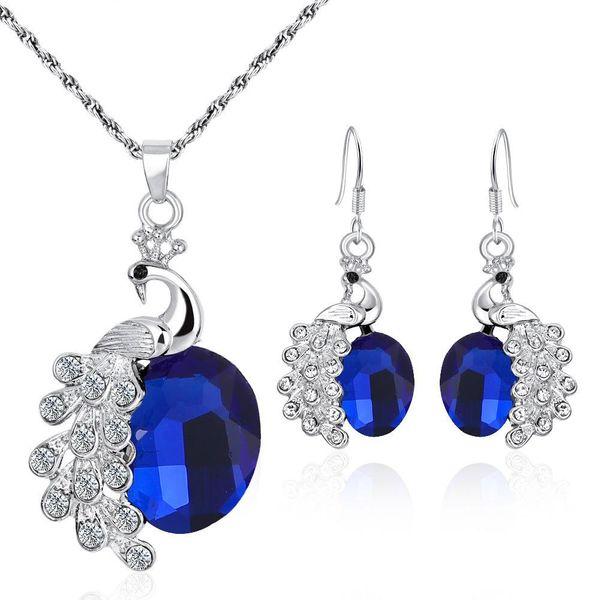 Conjunto de pendientes de collar de diamantes de circonita multicolor collar de pavo real pendientes de joyería NHCU194859