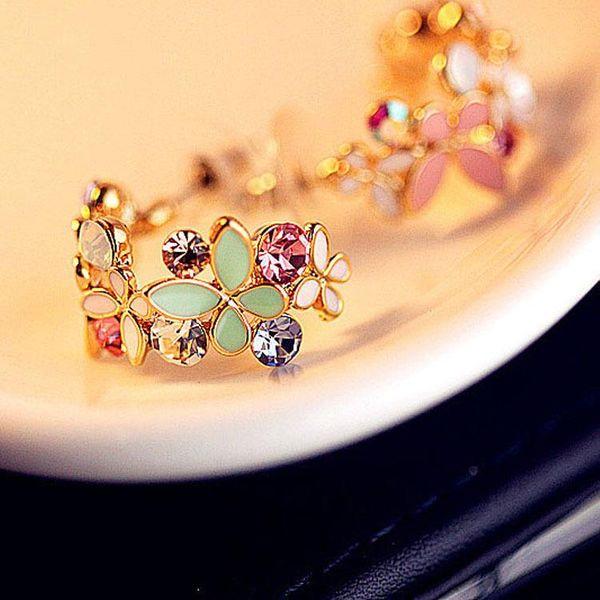 Fashion earrings geometric half circle flowers floral earrings small butterfly petal earrings NHCU194864