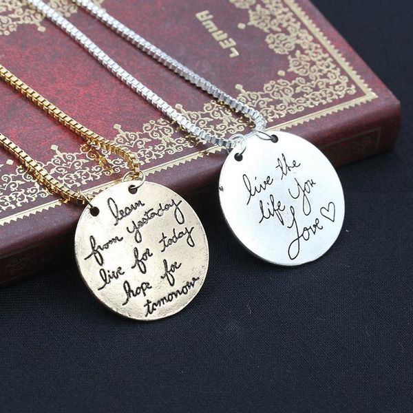 English letters love the life you love lettering women's necklace clavicle chain NHCU194868