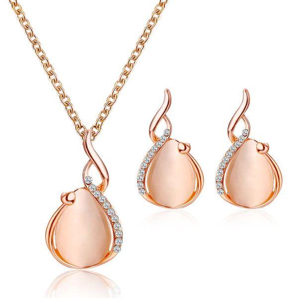 Conjunto de pendientes de collar pendientes de collar de gota de agua de ópalo de cristal simple de dos piezas NHCU194869