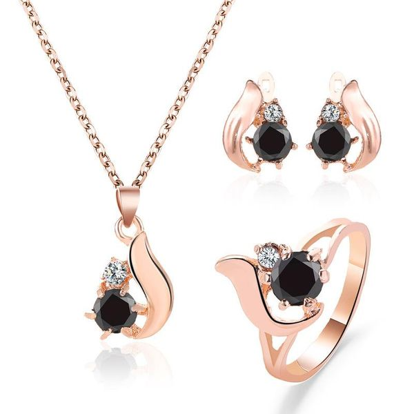 Anillo de pendiente de gota de obsidiana Conjunto de anillo Anillo de pendiente de hoja NHCU194874