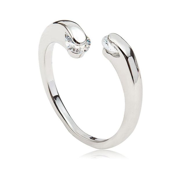 fashion snake head ring geometric open zircon diamond ring NHCU194884