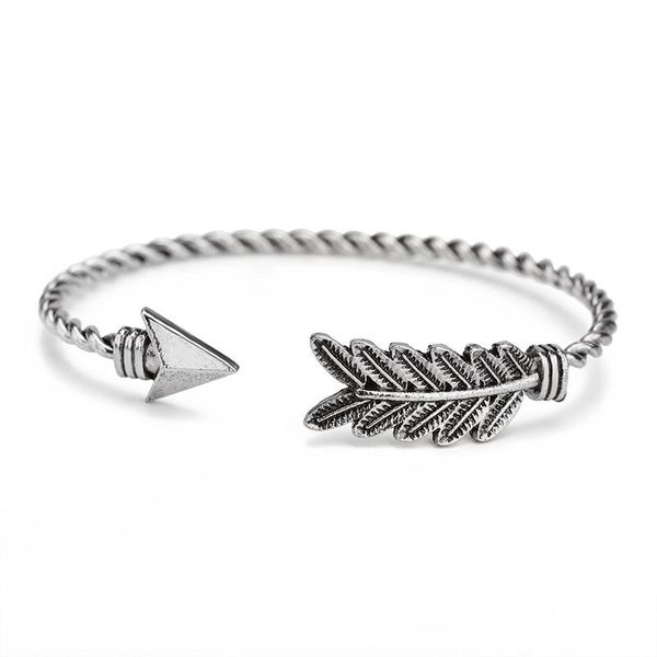 Triangle arrow feather leaf bracelet for men and women with bracelet opening adjustable bracelet NHCU194886