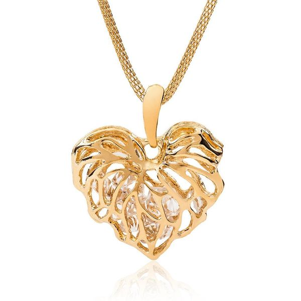 Hollow crystal necklace love peach heart pendant necklace sweater chain leaf necklace NHCU194895