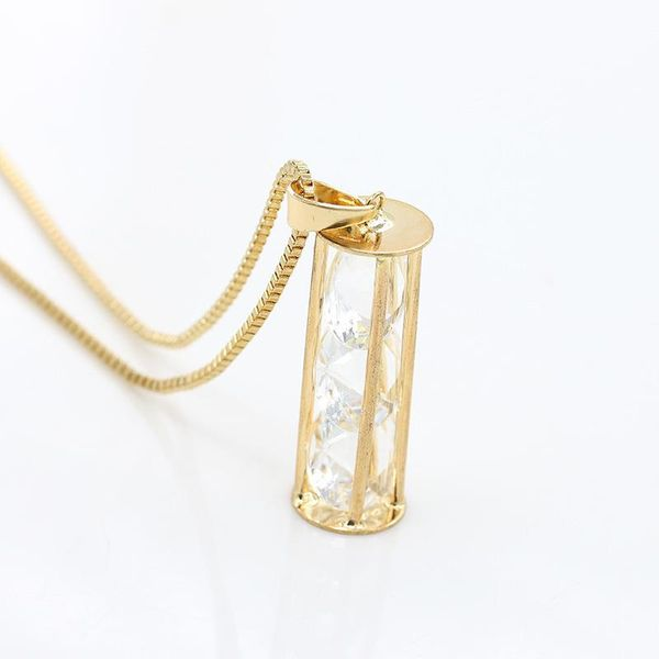 Hollow geometric cylindrical round necklace Three zircon long necklaces Multiple gem circle items NHCU194899