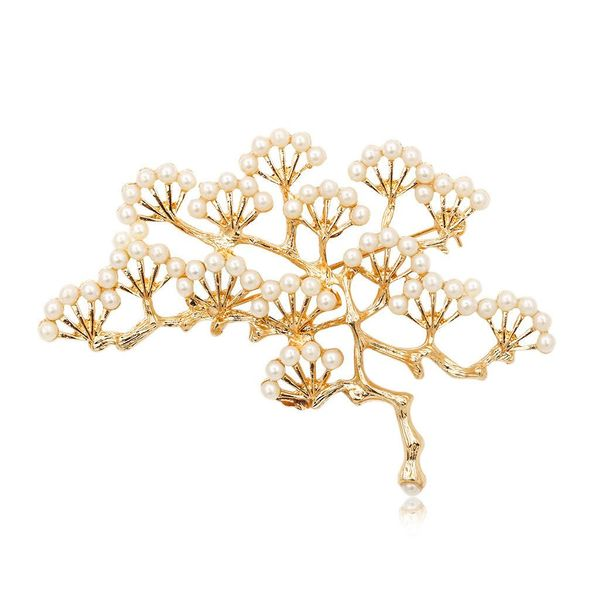 Vintage pine brooch collar pin inlaid with small pearl branches corsage pin NHCU194908