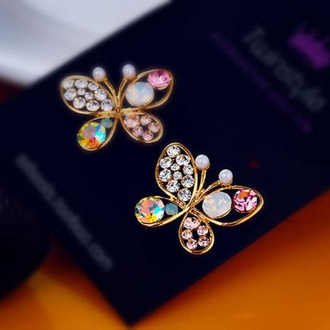 Aretes de diamantes con forma de mariposa perla Pendientes de botón de mujer NHCU194917's discount tags