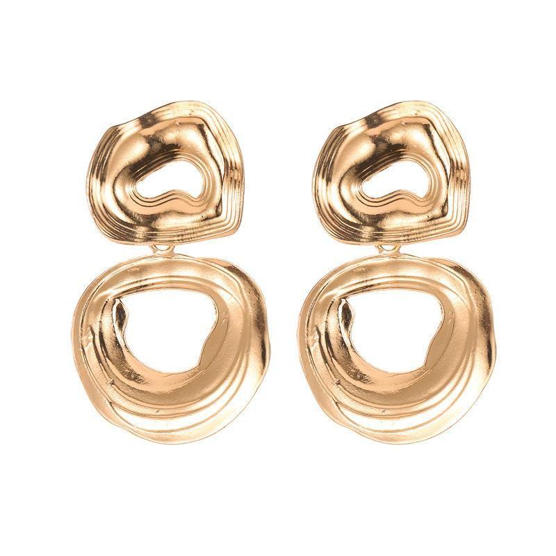 Stud Earrings Retro Irregular Texture Earrings Female Hollow Love Peach Heart Stud Earrings NHCU194920