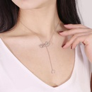 Womens zircon pendant necklace with diamond bow necklace NHCU194926