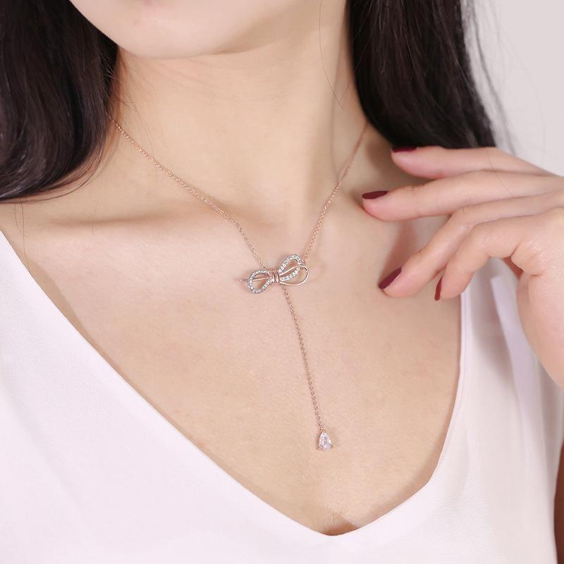 Women's zircon pendant necklace with diamond bow necklace NHCU194926