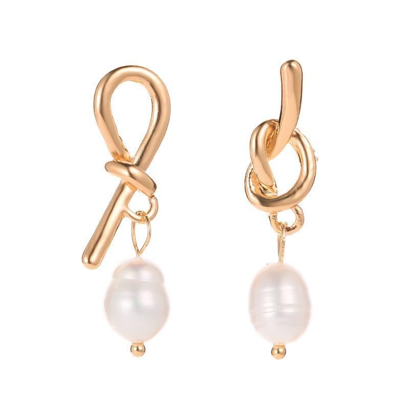 Asymmetric knotted bow pearl earrings earrings women NHCU194936