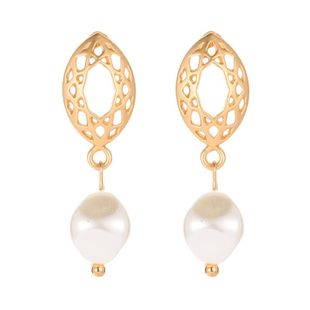 Geometric oval mesh stud earrings earrings temperament pearl pendant earrings women NHCU194938's discount tags