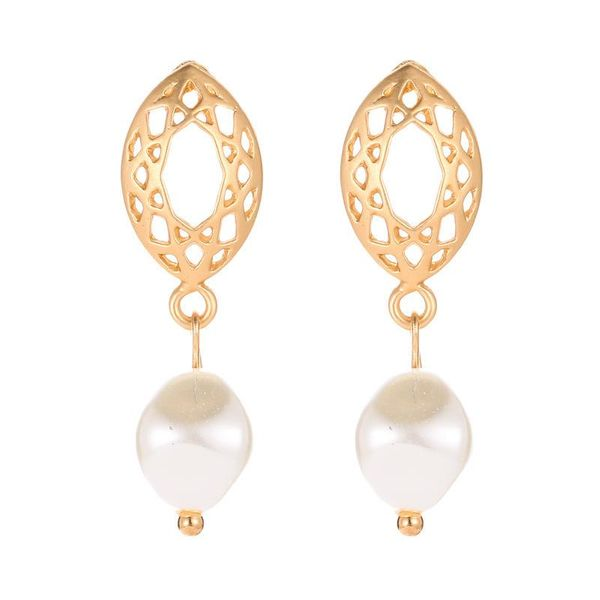 Geometric oval mesh stud earrings earrings temperament pearl pendant earrings women NHCU194938