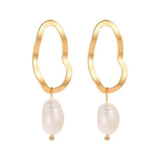 Temperament Imitation Freshwater Pearl Irregular Geometric Circle Earring Earrings NHCU194943's discount tags