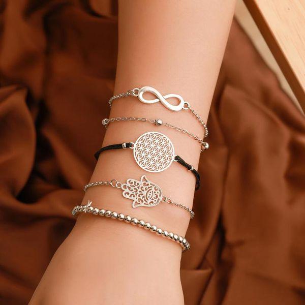 Best selling five-piece bracelet simple beaded 8-character bracelet retro hollow carved geometric palm bracelet women NHCU194944