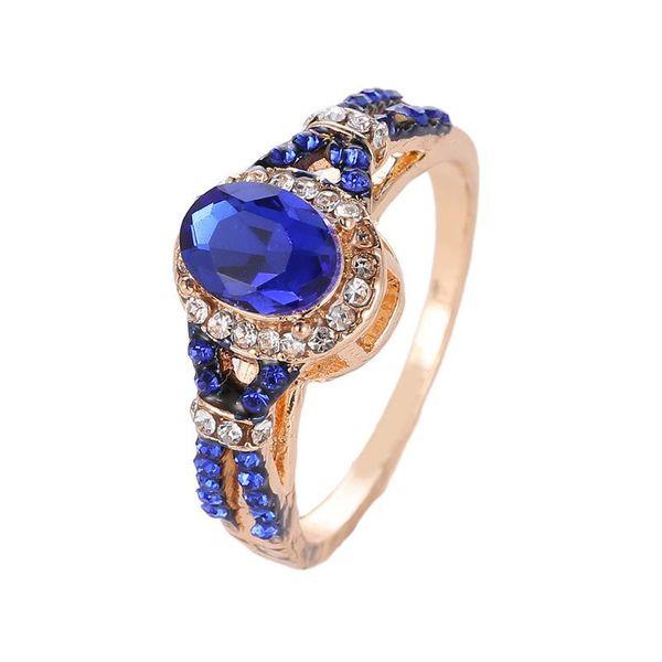 Anillo de explosión anillo de diamantes de circón azul NHCU194946
