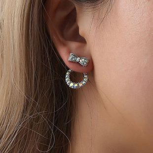 Fashion back hanging bow earrings inlaid with colored diamond earrings earrings women NHCU194947's discount tags