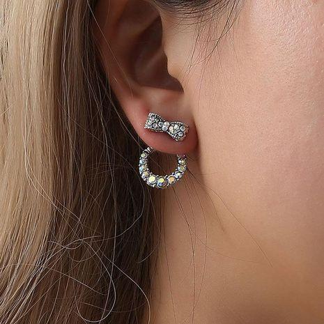 Aretes de arco colgantes con incrustaciones de moda con aretes de diamantes de colores aretes mujeres NHCU194947's discount tags