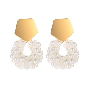 Geometric Pentagon Water Drop Beaded Round Earrings Sweet Millet Bead Earrings NHCU194948's discount tags