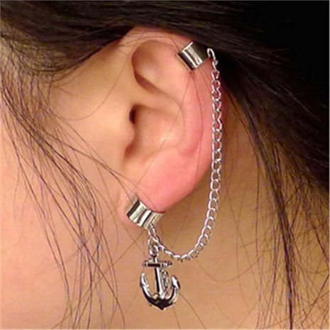 Aretes largos de borla con clip de oreja perforada con ancla Pendientes de pareja unisex NHCU194956's discount tags