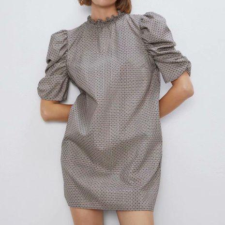 Wholesale Pleated Sleeve Plaid Dress NHAM194976's discount tags