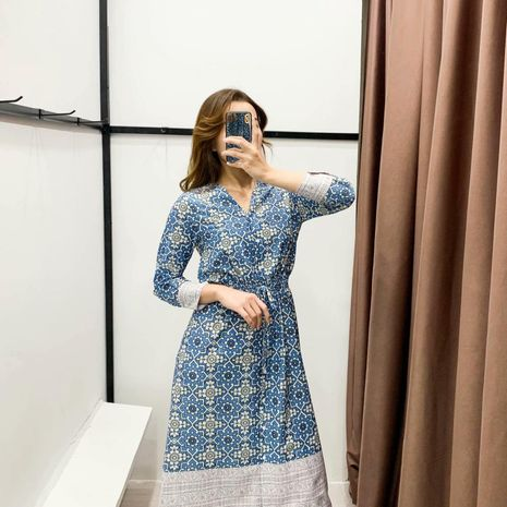 Wholesale blue and white porcelain print fringed long sleeve dress NHAM194977's discount tags