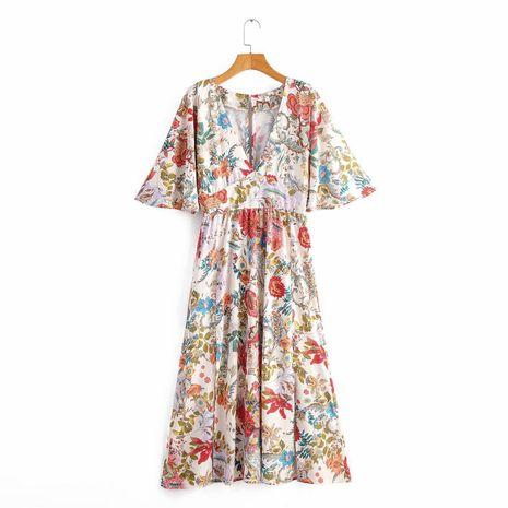 Vestido largo de manga corta con cuello en v estampado al por mayor NHAM194978's discount tags