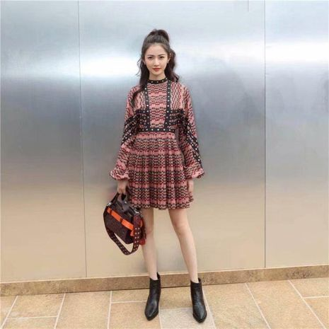 Studded Pleated Long Sleeve Dress NHAM194980's discount tags