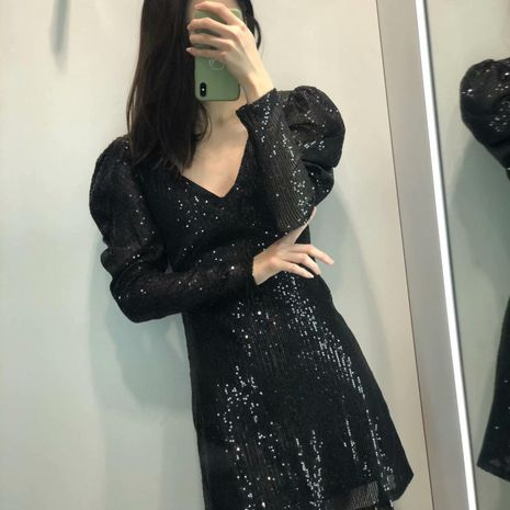 Wholesale V-neck beaded fluffy sequined long sleeve dress NHAM194981's discount tags