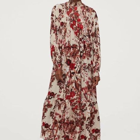 Printed long sleeves with long skirt wholesale NHAM194985's discount tags