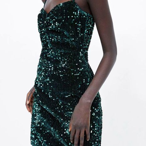 Wholesale sequined sling dress NHAM194988's discount tags