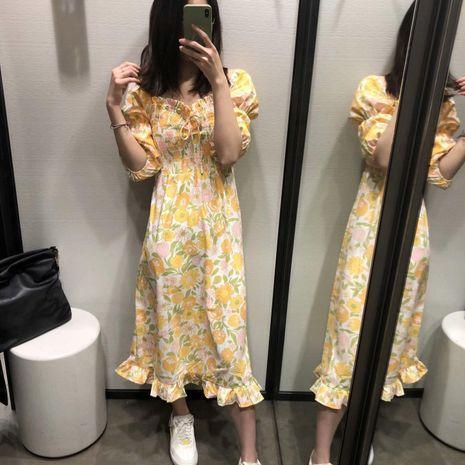 Vestido de manga larga elástico con estampado floral al por mayor NHAM194989's discount tags