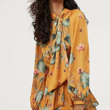 Wholesale scarf collar printed long skirt with long sleeves NHAM194991's discount tags