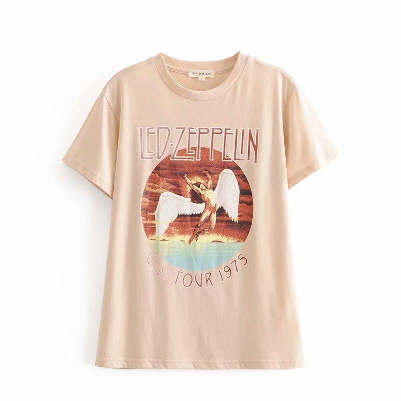 Printed cotton angel wing Tshirt NHAM194992