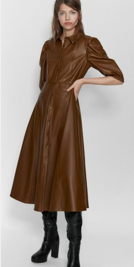 Wholesale New Faux Leather Shirt Dress NHAM194994's discount tags