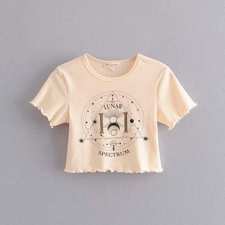 Camiseta corta entallada con volantes casual NHAM194996's discount tags