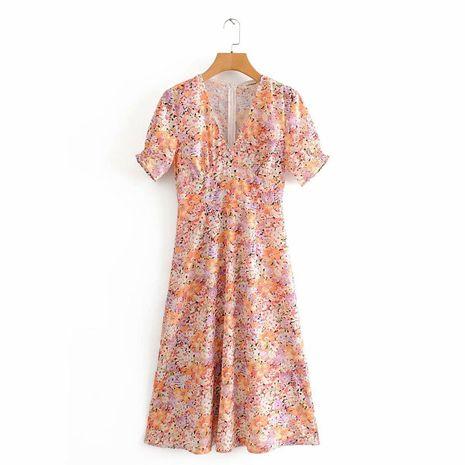 Wholesale V-neck Slim Print Dress NHAM194999's discount tags