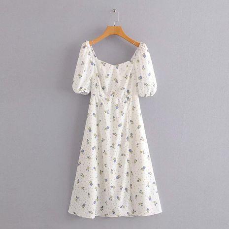 Floral Square Collar Slim Hem Split Dress NHAM195001's discount tags