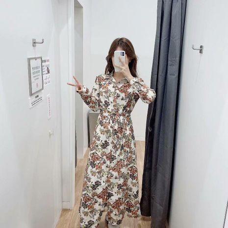 New Printed Waist Bow Shirt Long Sleeve Dress NHAM195003's discount tags