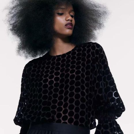 Spring same velvet blouse wholesale NHAM195005's discount tags