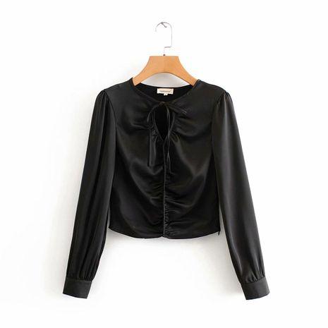 Spring Women's Drawstring Satin Shirt NHAM195010's discount tags
