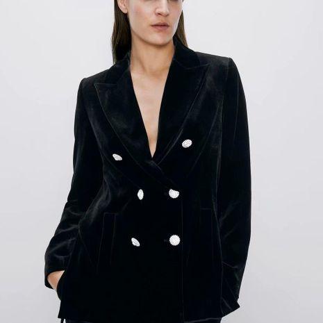 Blazer de terciopelo para mujer con botones de joyería NHAM195013's discount tags
