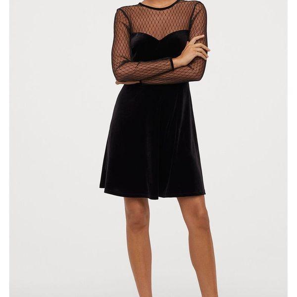 Mesh-paneled velvet long-sleeved dress NHAM195014